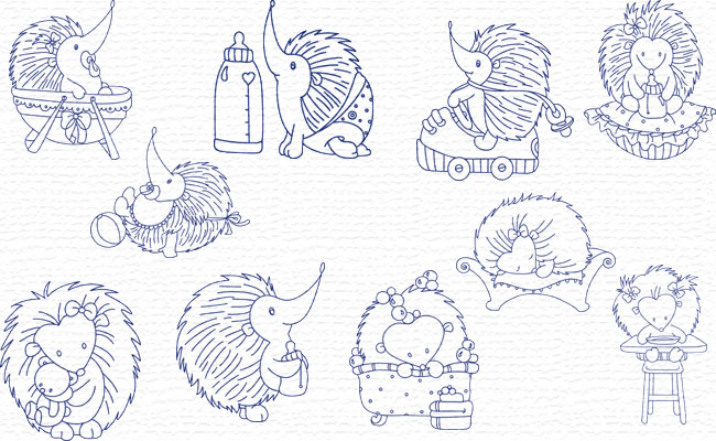 BW Baby Hedgehogs embroidery designs
