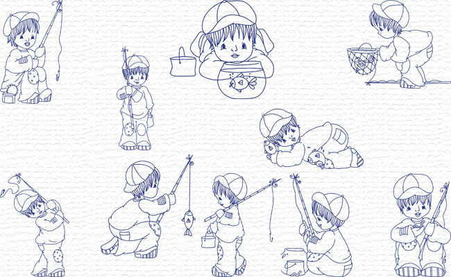 Bluework Little Fisherman embroidery designs