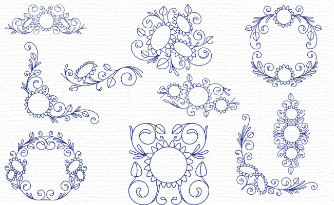 Bluework Sunflowers embroidery designs