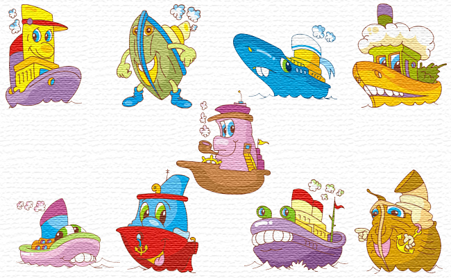 Living Ships embroidery designs