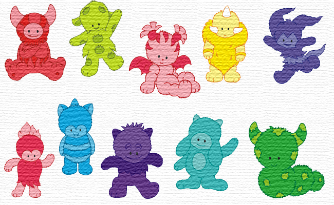 Monsters embroidery designs