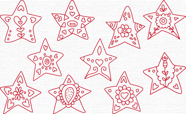 Stars embroidery designs
