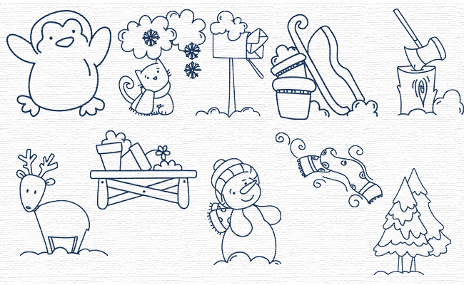 BW Winter Time embroidery designs