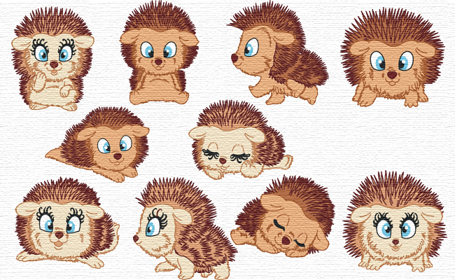 Cute Hedgehogs embroidery designs