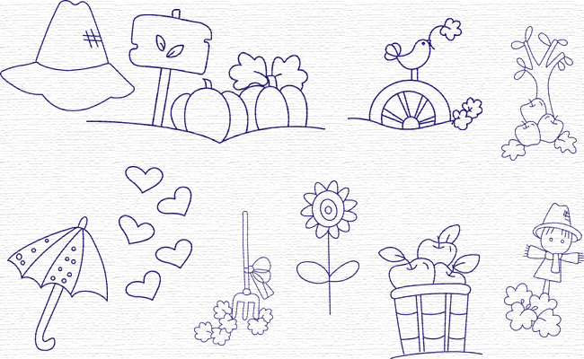 BW Fall Time embroidery designs