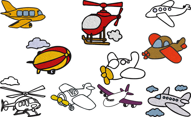 Airplanes embroidery designs