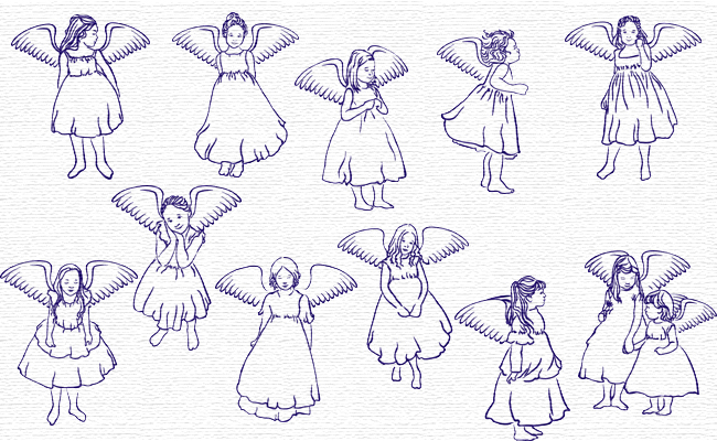 Angels embroidery designs