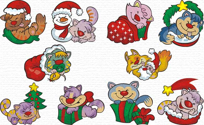 Christmas Kitty embroidery designs