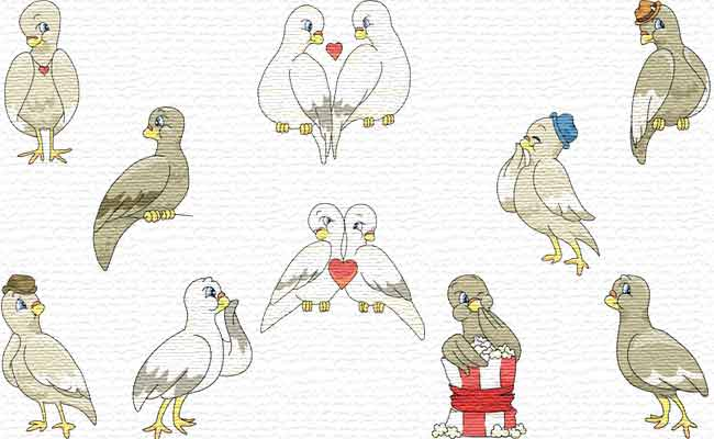 Cute Doves embroidery designs